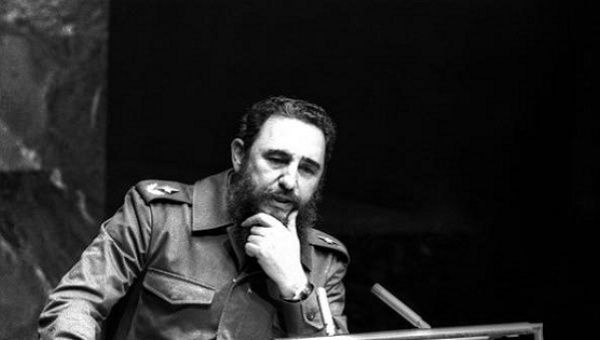 Fidel Castro addresses the audience as president of Non-Aligned Movement at UN, Oct. 12, 1979.
