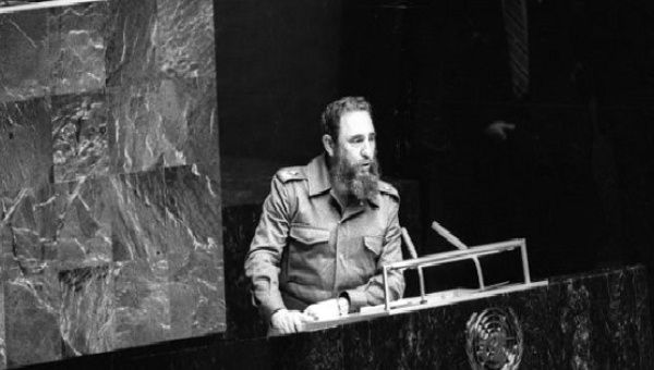Fidel Castro addressing the UN as president of the Non-Aligned Movement in 1979.