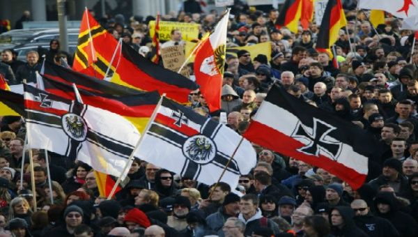Demonstration in Cologne, Germany led by the PEGIDA movement and the local far-right group Pro NRW, Jan. 2016