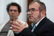 Colombia's FARC rebel leader Rodrigo Londono, known as Timochenko, speaks alongside FARC Commander Pastor Alape in Bogota, Colombia, Nov. 25, 2016.