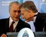 Brazilian president Michel Temer (L) and Argentine President Mauricio Macri are the main figures behind the request to expel Venezuela from Mercosur.