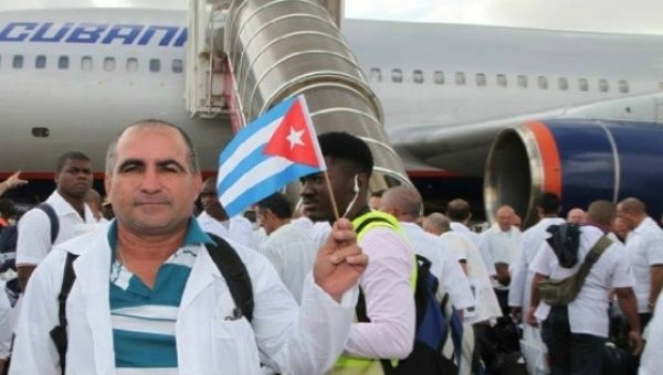 Cuban Doctors Arriving on a Mission In Sierra Leone in 2015