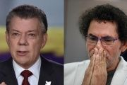 Colombian President Juan Manuel Santos and FARC Commander Pastor Alape appear in this composite photo.