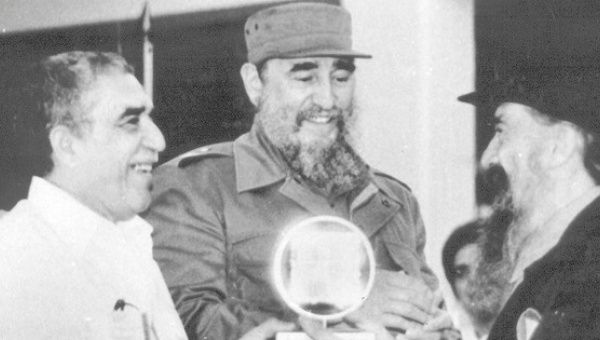 Garcia Marquez (l) and Fidel Castro during the inauguration of the International International Film and Television School in San Antonio de los Baños, Cuba.