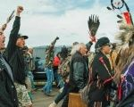Land defenders at Standing Rock earlier this year.