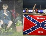 Charleston Massacre shooter Dylann Roof (L) with a Confederate Flag, and Trump supporters (R) with a Confederate flag.