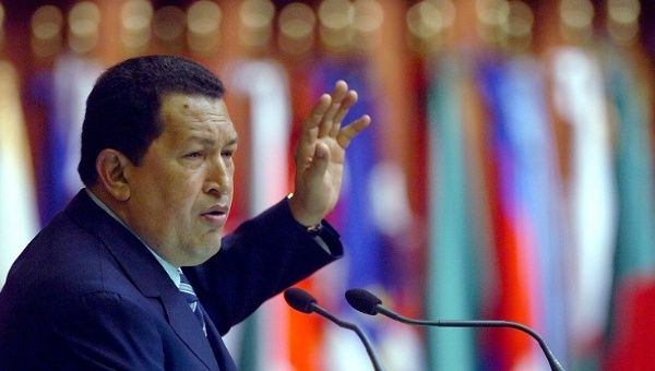 The late Venezuelan President Hugo Chavez speaks at the 14th Conference Summit of the Non-Aligned Movement in 2006.