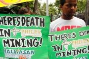 Activists protest mining projects in Manila.