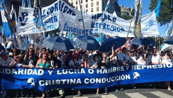 "Activists join another ""March of Resistance"" against the government of Macri in Argentina."