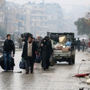 Evacuados en Alepo, Siria.