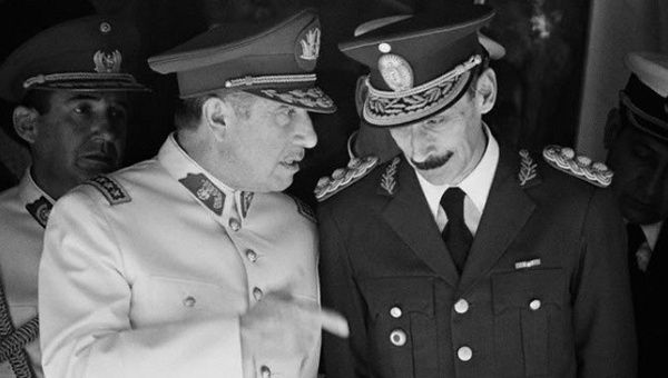 Augusto Pinochet of Chile (L) and Jorge Rafael Videla (R) of Argentina were two of the region