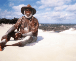 Late Wuthathi Elder, Gordon Pablo, one of the traditional leaders who fought for land rights, sits on the famous sand of Shelbourne Bay.