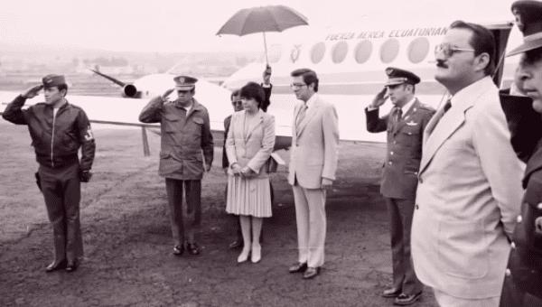 Former Ecuadorian President Jaime Roldos (4th from R) was killed in a plane crash in 1981.