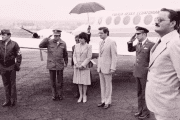 Former Ecuadorian President Jaime Roldos (4th from R) was killed in a plane crash in 1981.