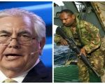 ExxonMobile CEO Rex Tillerson (L) and Papua New Guinea Defence Force soldiers (R)