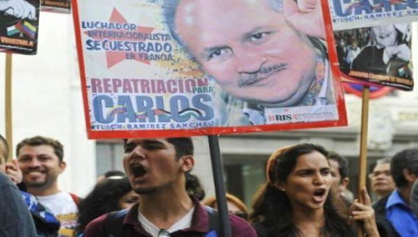 Protesters calling for the repatriation of Ilich Ramirez Sanchez, aka Carlos the Jackal, in Caracas, Venezuela in 2011
