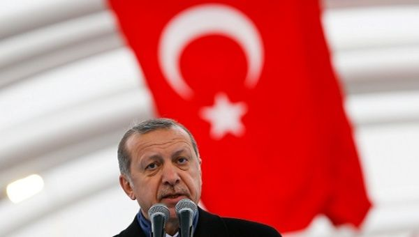 Turkish President Tayyip Erdogan makes a speech during the opening ceremony of Eurasia Tunnel in Istanbul.