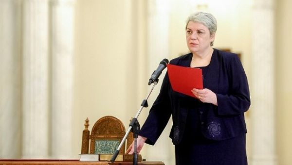 Sevil Shhaideh is sworn in for the position of minister for regional administration and public administration, in Bucharest.