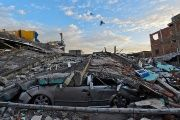 Picture showing the destruction in Manta, Ecuador, on April 17, 2016 a day after a powerful 7.8-magnitude quake hit the country.