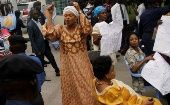 Congolese women protest during talks between the opposition and the government in the Democratic Republic of Congo