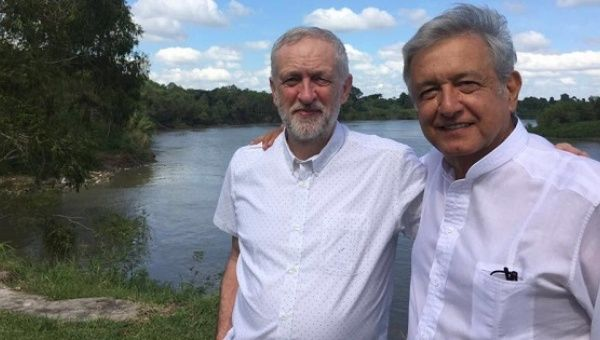 British Labour leader Jeremy Corbyn (L) meets with Andres Manuel Lopez Obrador in Tabasco, Mexico.