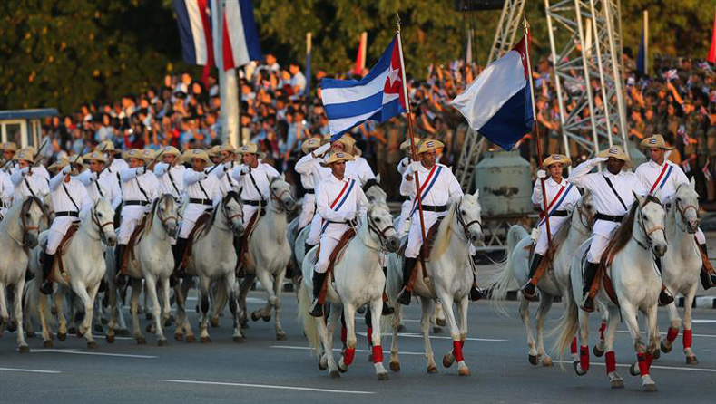 Soldiers dressed as members of the Army of Liberation parade on horseback today, Monday, January 2, 2017, in the Plaza de la Revolución de La Habana (Cuba).