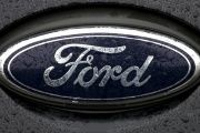 The Ford logo is pictured at the Ford Motor Co plant in Genk.