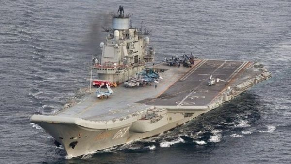 Russian aircraft carrier Admiral Kuznetsov is pictured in international waters off the coast of Norway, Oct. 17, 2016.