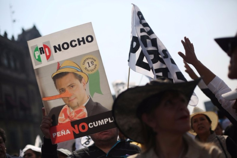 "A protester holds a sign depicting Mexican President Enrique Peña Nieto as Pinocchio which also reads ""Peña does not comply."""