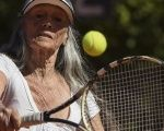 Senior tennis player Ana Obarrio, 83, hits the ball during a tennis match in Buenos Aires, Argentina.