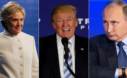 Democratic U.S. presidential nominee Hillary Clinton, Republican U.S. President-elect Donald Trump and Russian President Vladimir Putin.