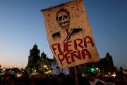 A demonstrator holds a placard depicting Mexican President Enrique Pena Nieto during a protest against a fuel price hike in Mexico City, Mexico January 9, 2017.