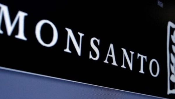 Monsanto logo is displayed on a screen.
