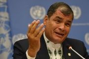 Ecuadorean President Rafael Correa speaks at the U.N. April, 2016