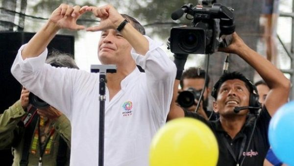 President Rafael Correa thanked thousands of supporters during the public event marking 10 years of the Citizens