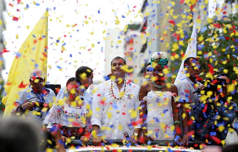 President Rafael Correa attends the event in Guayaquil commemorating 10 years of the Citizens