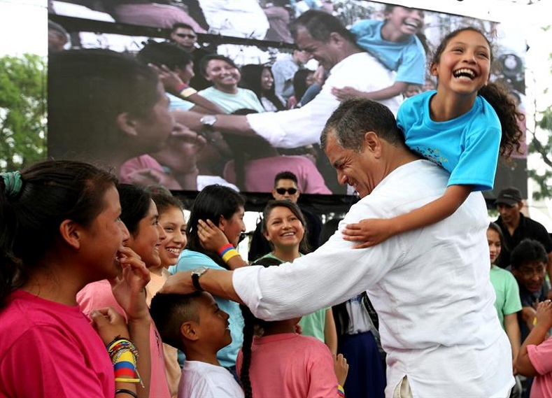 Rafael Correa greets supporters during an event in Guayaquil.