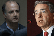 Gabriel Garcia Morales (L) was the vice minister of transportation during the government of right-wing Alvaro Uribe (R).