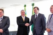 Geddel Vieira Lima (L), President Michel Temer, President of the Lower House Rodrigo Maia and President of the Senate Renan Calheiros