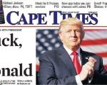 January 20, 2017 headline of Cape Times, newspaper of Cape Town, South Africa