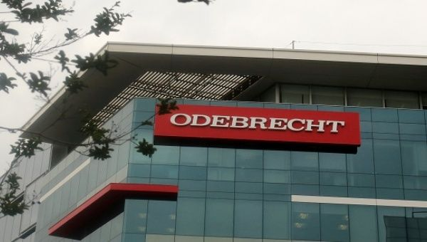 A sign of the Odebrecht Brazilian construction conglomerate is seen at their headquarters in Lima, Peru, January 5, 2017