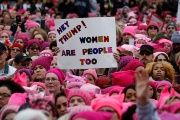 People gather for the Women's March in Washington U.S., Jan. 21, 2017.