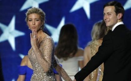 Ivanka Trump blows a kiss as she departs with her husband Jared Kushner from the Inauguration Freedom Ball in Washington, U.S., Jan. 20, 2017.
