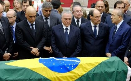 Brazilian President Michel Temer attends the wake of Brazilian Supreme Court Justice Teori Zavascki, in Porto Alegre.