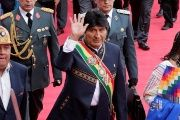 Bolivia's President Evo Morales waves during a ceremony to mark 11 years of his administration in La Paz, Bolivia, Jan. 22, 2017.
