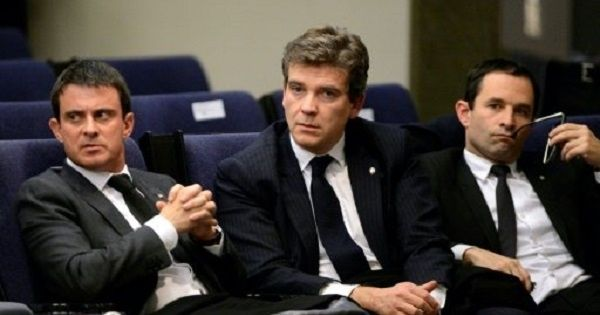 Manuel Valls, Arnaud Montebourg and Benoit Hamon during a press conference in Madrid on Nov. 27, 2013.
