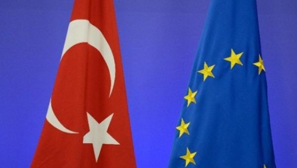The flags of Turkey and the European Union.