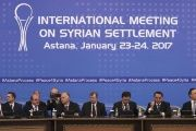 Participants of Syria peace talks attend a meeting in Astana, Kazakhstan, Jan. 23, 2017.