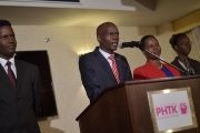 Elected President Jovenel Moise of the PHTK political party, gives a speech in the commune of Petion Ville, in the Haitian capital of Port-au-Prince on Jan. 3, 2017