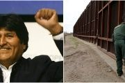 Bolivian President Evo Morales (L) and a U.S. Border patrol agent opens a gate on the fence along the Mexico border to allow vehicles pass in El Paso, U.S (R).